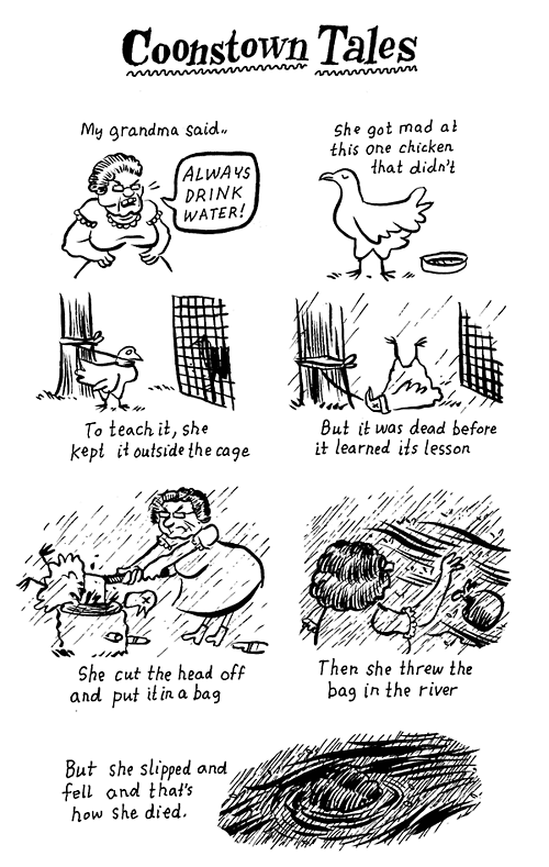 a comic about a grandma killing a chicken